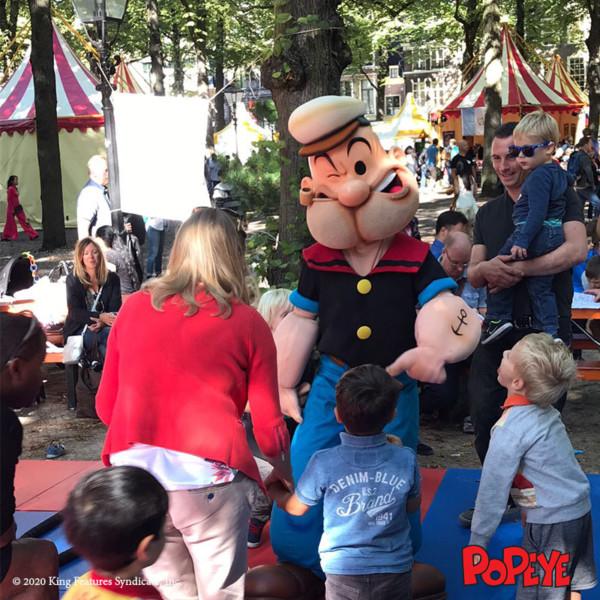Meet en greet, Meet & Greet, kinderentertainment, tv karakter inhuren, winkelcentrumpromotie, looppop inhuren, bekende kinderfiguren inhuren, boeken kinderentertainment, Popeye, Popeye huren